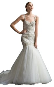 Watters Nude / Ivory / Champagne Illusion Netting / Heritage Lace / Stretch Satin Lining Viena 6024b Formal Wedding Dress Size 10 (M)