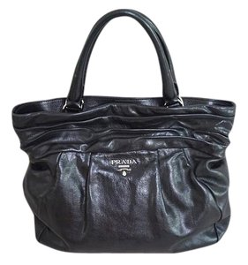 Prada Leather Silver Hardware Classic Ruffle Tote in Black