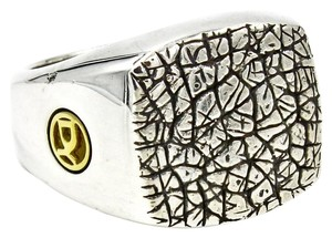 David Yurman David Yurman Naturals Men's Rhinoceros Ring in 925 Sterling Silver and 18k Yellow Gold Size 10
