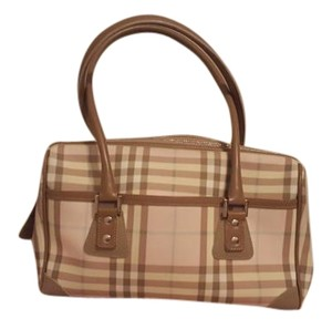 Burberry London Tote in Pink and tan and blue plaid