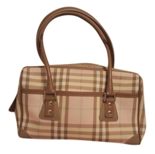 Item - S 03 3 Made In Italy Pink and Tan and Blue Plaid Leather Tote