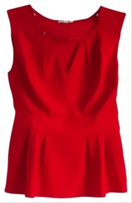 Under Skies Studded Peplum Cutout Top red