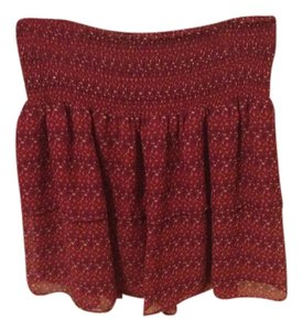 Old Navy Tribal Layered Sheer Aztec Mini Skirt Maroon