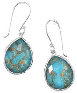Other Rhodium Plated Sterling Silver Faceted Quartz over Turquoise Drop Earrings