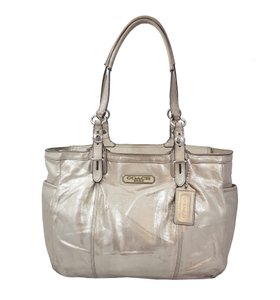 Coach Metallic Shimmer Leather Satchel in Silver
