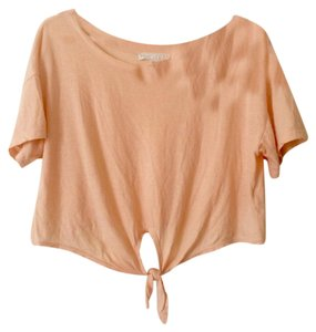 Forever 21 Crop Summer Coral T Shirt Peach