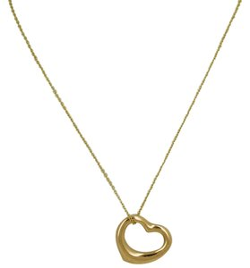 Tiffany & Co. TIFFANY & CO. Elsa Peretti OPEN HEART NECKLACE 18 K Yellow Gold, Size Medium