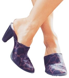 Free People Calf Hair Leather Leopard Mules