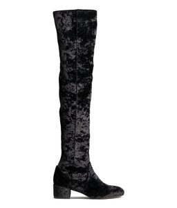 H&M Velvet Over-the-knee Boho Vegan Stretch Black Boots