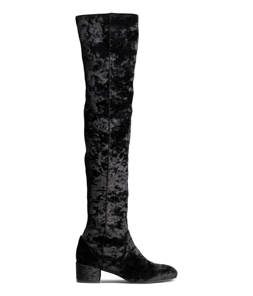 b571db4e068f H&M Black Vegan Crushed Velvet Over The Knee Boots/Booties Size US ...