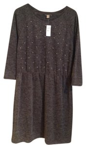 Ann Taylor LOFT short dress Grey Beaded Pearl Sequin on Tradesy