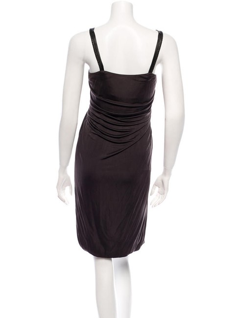Yigal Azrouël Bubble Jersey Draped Leather Ring Dress