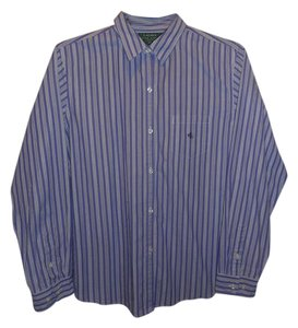 Ralph Lauren Casual Cotton Preppy Striped Top PURPLE