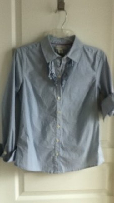 Banana Republic Ruffle Pinstripe Petite Button Down Shirt blue and white stripe
