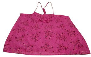 Xhilaration Top Fushia W/Flowers