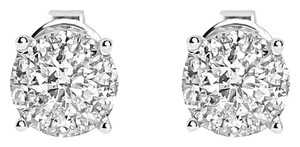 14k White Gold Mens Ladies Round Diamond Solitaire 5mm Earrings Studs 0.64 ct