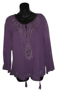Cynthia Rowley Casual Cotton Gauze Top PURPLE