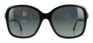Chanel Gently Used Chanel Sunglasses 5308-B c. 501/S8 Black Rhinestone Acetate Polarized Gray Gradient Full-Frame Made in Italy 58mm