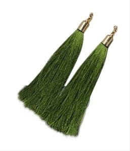 TALISA Earrings in Green Tassel