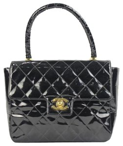 Chanel Cc Quilted Top Handle Boston Satchel in black
