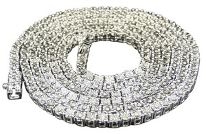 Mens White Gold Finish Round Cut 1 Row Real Genuine Diamond Chain 34 Inches