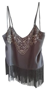 Guess Beaded Fringe Hem Top Black with Silver beading