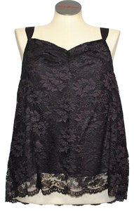 DKNY Lace Sleeveless Ribbon Top Black