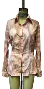 The Limited Office Striped Shirt Button Down Shirt White Pink