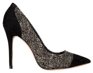 Jean-Michel Cazabat Elda Pointed Toe Tweed Black Pumps