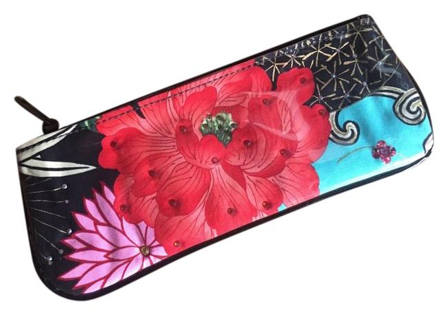 Floral Red Coated Vintage Fabric Clutch Floral Red Coated Vintage Fabric Clutch Image 1