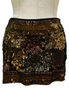 Hale Bob Floral Sequin Mini Skirt Black, Bronze, Gold, and Silver