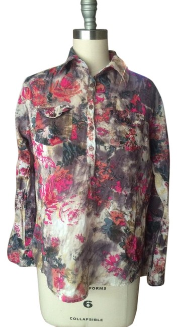 Item - Red Fuscia Grey White Long-sleeve Print Shirt Button-down Top Size 4 (S)