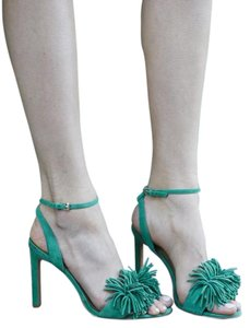 Banana Republic Suede Fringe Summer Color Green Sandals