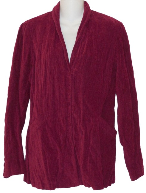 Eileen Fisher Shaped Chenille Cranberry Red Jacket