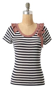 Anthropologie Charlie And Robin Knit Striped Navy Sweater