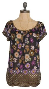 Anthropologie Floral Romantic Sheer Chiffon Silk Top MULTI-COLOR