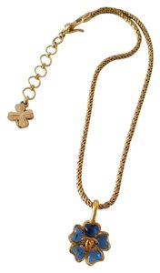 Chanel 97A Chanel necklace Blue Gripoix Flower on Gold-tone Chain 16