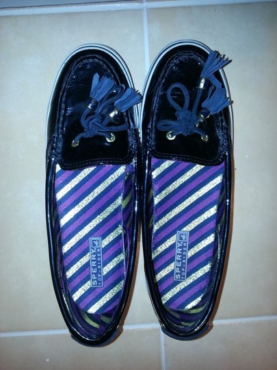 Sperry Boat Patent Leather Black Flats