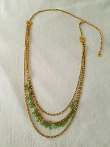 Chanel 97P Chanel 3 tier necklace green stones;Authenticated professionally.