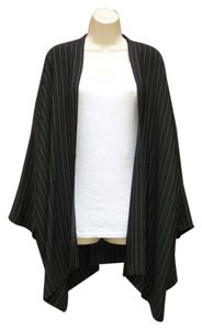Eskandar Silk Open Front Oversized Black White Pinstripe Jacket