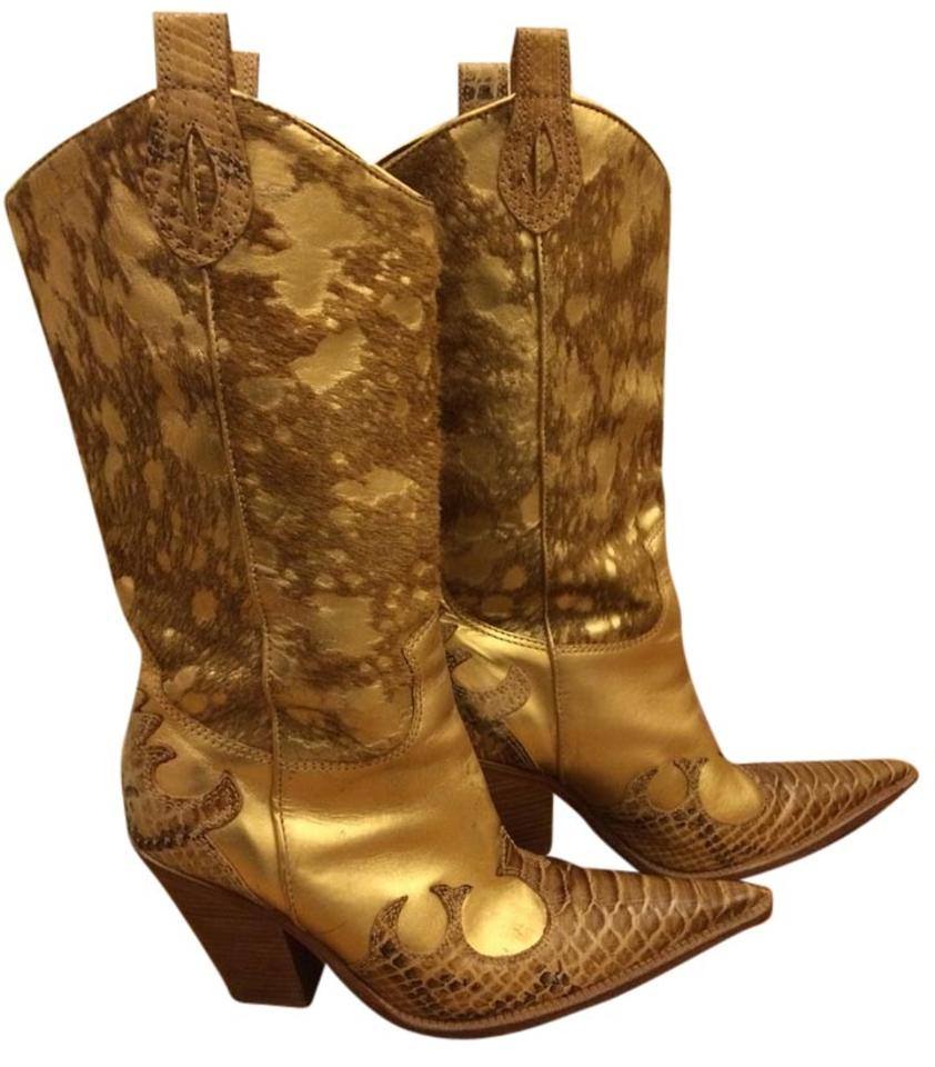 Gold/Brown Leather Unique Brazil Calf Hair Snakeskin Unique Leather Pointed Toe Boots/Booties 99c9e5