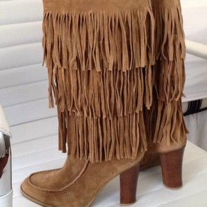 Ralph Lauren Fringe Leather Boho Camel Boots