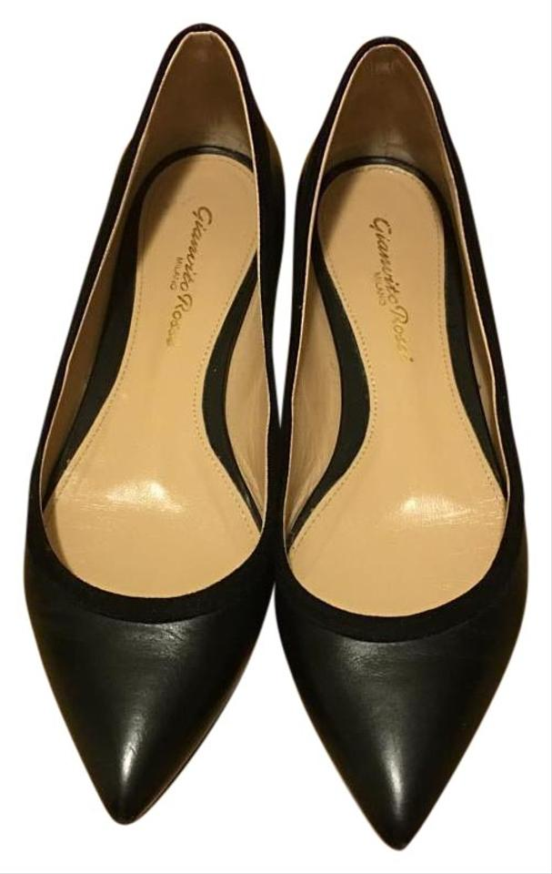 32cde9da1 Gianvito Rossi Black Leather/Suede Pointed Flats Size US 4.5 Regular ...
