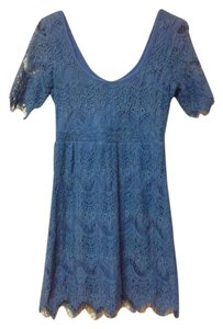 Pins and Needles short dress Blue Bohemian Crochet Scoop Back on Tradesy