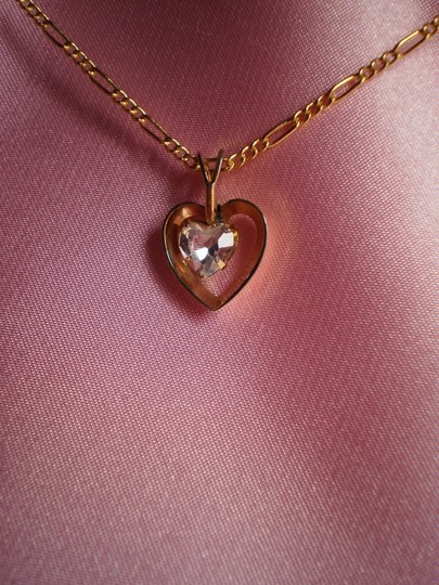 Other Like new Goldtone heart w/solitaire necklace