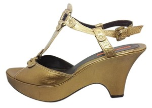 Via Spiga Platform Wedge Gold Bronze Sandals