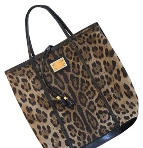 6bb55c23 Dolce&Gabbana Leopard Print with Black Leather Trim Canvas and Tote ...