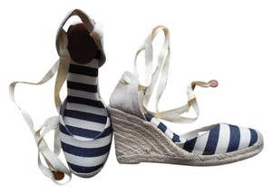 Sonoma Summer Stylish Beach white and blue stripes Wedges