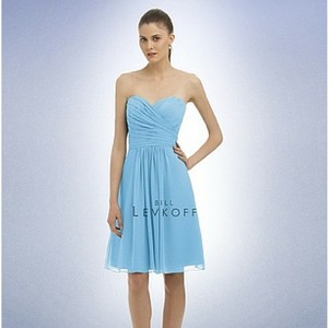 Bill Levkoff Capri (Light Blue) Chiffon #323 (Short) Feminine Bridesmaid/Mob Dress Size 10 (M)