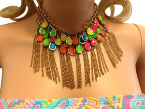 Other Neon necklace with gold fringe